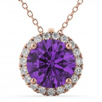 Halo Round Amethyst & Diamond Pendant Necklace 14k Rose Gold (2.09ct)