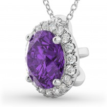 Halo Round Amethyst & Diamond Pendant Necklace 14k White Gold (2.09ct)