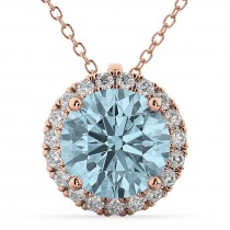 Halo Round Aquamarine & Diamond Pendant Necklace 14k Rose Gold (2.69ct)