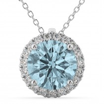 Halo Round Aquamarine & Diamond Pendant Necklace 14k White Gold (2.69ct)