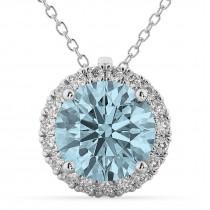 Halo Round Aquamarine & Diamond Pendant Necklace 14k White Gold (2.69ct)