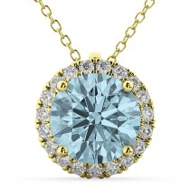 Halo Round Aquamarine & Diamond Pendant Necklace 14k Yellow Gold (2.69ct)