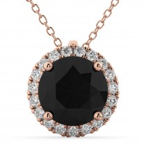 Black Diamond & Diamond Halo Round Pendant Necklace 14k Rose Gold (2.29ct)