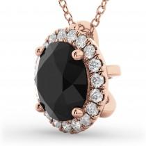 Halo Round Black Diamond Pendant Necklace 14k Rose Gold (2.29ct)