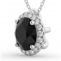 Halo Round Black Diamond Pendant Necklace 14k White Gold (2.29ct)