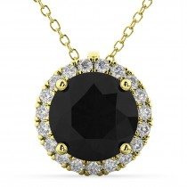 Halo Round Black Diamond Pendant Necklace 14k Yellow Gold (2.29ct)