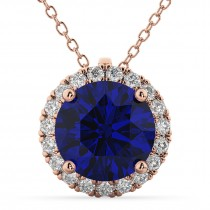 Halo Blue Sapphire & Diamond Pendant Necklace 14k Rose Gold (2.59ct)