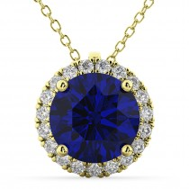 Halo Blue Sapphire & Diamond Pendant Necklace 14k Yellow Gold (2.59ct)