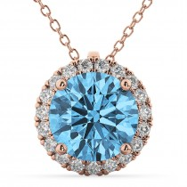Halo Round Blue Topaz & Diamond Pendant Necklace 14k Rose Gold (2.79ct)