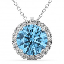 Halo Round Blue Topaz & Diamond Pendant Necklace 14k White Gold (2.79ct)