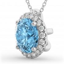 Halo Round Blue Topaz & Diamond Pendant Necklace 14k White Gold (2.79ct)