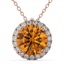 Halo Round Citrine & Diamond Pendant Necklace 14k Rose Gold (2.09ct)