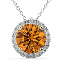 Halo Round Citrine & Diamond Pendant Necklace 14k White Gold (2.09ct)