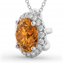 Halo Round Citrine & Diamond Pendant Necklace 14k White Gold (2.09ct)