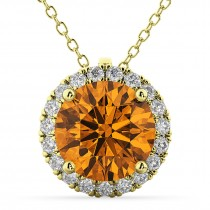Halo Round Citrine & Diamond Pendant Necklace 14k Yellow Gold (2.09ct)