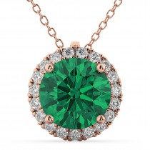 Halo Round Emerald & Diamond Pendant Necklace 14k Rose Gold (2.79ct)