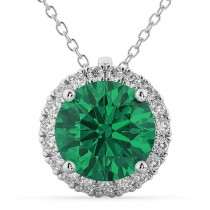 Halo Round Emerald & Diamond Pendant Necklace 14k White Gold (2.79ct)