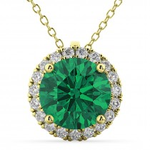 Halo Round Emerald & Diamond Pendant Necklace 14k Yellow Gold (2.79ct)