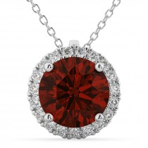 Halo Round Garnet & Diamond Pendant Necklace 14k White Gold (2.79ct)