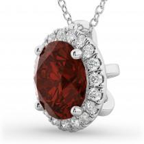 Halo Round Garnet & Diamond Pendant Necklace 14k White Gold (2.79ct)