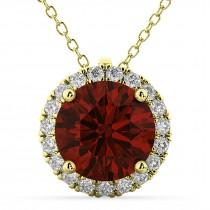 Halo Round Garnet & Diamond Pendant Necklace 14k Yellow Gold (2.79ct)
