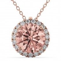 Halo Round Morganite & Diamond Pendant Necklace 14k Rose Gold (2.09ct)