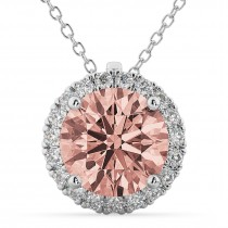 Halo Round Morganite & Diamond Pendant Necklace 14k White Gold (2.09ct)