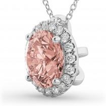 Halo Round Morganite & Diamond Pendant Necklace 14k White Gold (2.09ct)