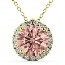 Halo Round Morganite & Diamond Pendant Necklace 14k Yellow Gold (2.09ct)