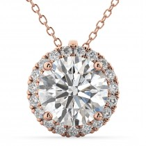 Halo Round Moissanite & Diamond Pendant Necklace 14k Rose Gold (1.89ct)