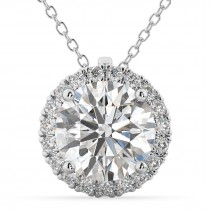 Halo Round Moissanite & Diamond Pendant Necklace 14k White Gold (1.89ct)