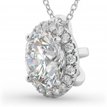 Halo Round Moissanite & Diamond Pendant Necklace 14k White Gold (1.89ct)