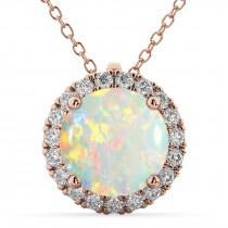 Halo Round Opal & Diamond Pendant Necklace 14k Rose Gold (2.09ct)