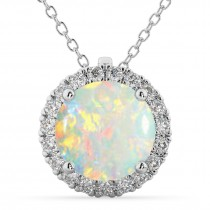 Halo Round Opal & Diamond Pendant Necklace 14k White Gold (2.09ct)
