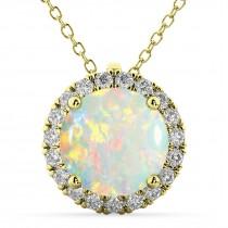 Halo Round Opal & Diamond Pendant Necklace 14k Yellow Gold (2.09ct)