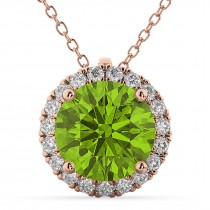 Halo Round Peridot & Diamond Pendant Necklace 14k Rose Gold (2.29ct)