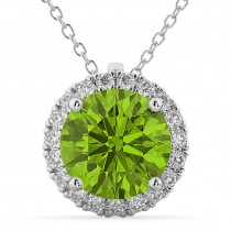 Halo Round Peridot & Diamond Pendant Necklace 14k White Gold (2.29ct)