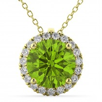 Halo Round Peridot & Diamond Pendant Necklace 14k Yellow Gold (2.29ct)