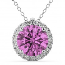 Halo Round Pink Sapphire & Diamond Pendant Necklace 14k White Gold (2.59ct)