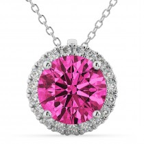Halo Round Pink Tourmaline & Diamond Pendant Necklace 14k White Gold (2.29ct)