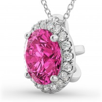 Halo Round Pink Tourmaline & Diamond Pendant Necklace 14k White Gold (2.29ct)