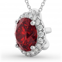 Halo Round Ruby & Diamond Pendant Necklace 14k White Gold (2.59ct)