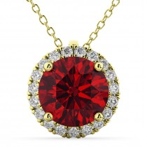 Halo Round Ruby & Diamond Pendant Necklace 14k Yellow Gold (2.59ct)
