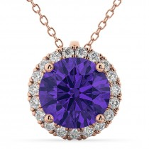 Halo Round Tanzanite & Diamond Pendant Necklace 14k Rose Gold (2.09ct)