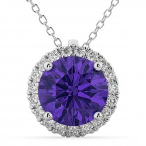 Halo Round Tanzanite & Diamond Pendant Necklace 14k White Gold (2.09ct)