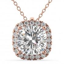 Halo Cushion Cut Diamond Pendant Necklace 14k Rose Gold (2.27ct)