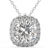 Halo Cushion Cut Diamond Pendant Necklace 14k White Gold (2.27ct)