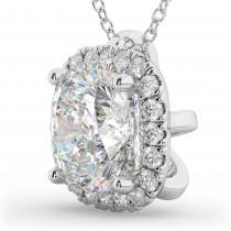 Halo Cushion Cut Diamond Pendant Necklace 14k White Gold (2.27ct)