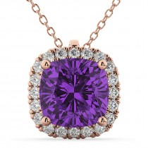 Halo Amethyst Cushion Cut Pendant Necklace 14k Rose Gold (2.02ct)