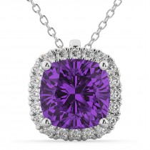 Halo Amethyst Cushion Cut Pendant Necklace 14k White Gold (2.02ct)